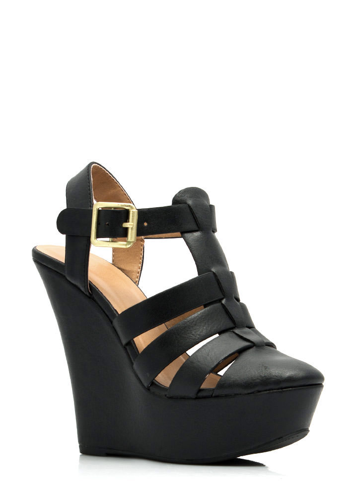 Granola Girl Buckled Wedges BLACK