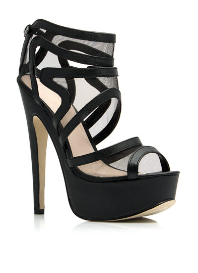Swirly Girl Strappy Mesh Platforms BLACK