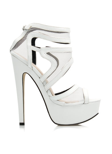 Swirly Girl Strappy Mesh Platforms WHITE
