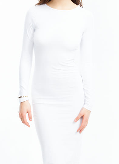 Ace Of Basic Bodycon Midi Dress WHITE
