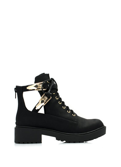 Double Clipped Cut-Out Work Boots BLACK
