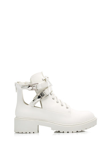 Double Clipped Cut-Out Work Boots WHITE