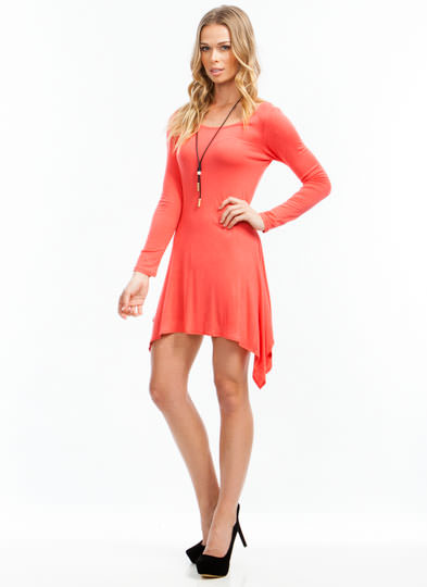Need A Hankie Hem Tunic Top CORAL