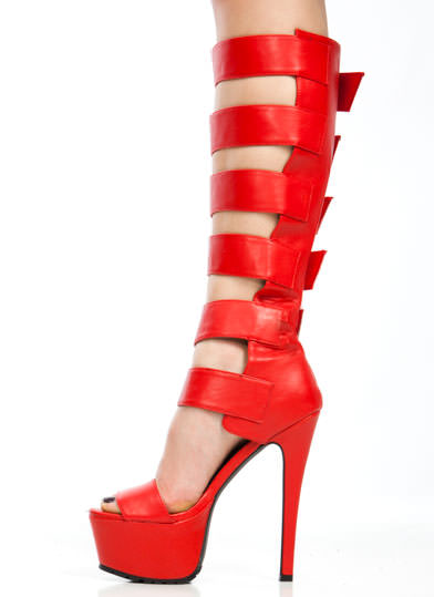 Strap To It Gladiator Heels RED