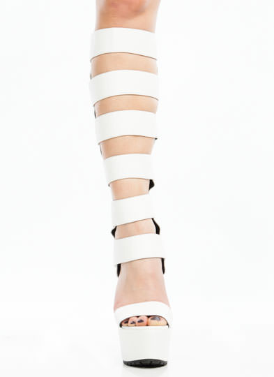 Strap To It Gladiator Heels WHITE