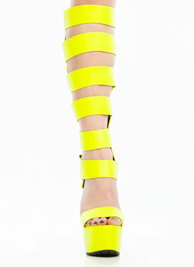 Strap To It Neon Gladiator Heels NEONYELLOW