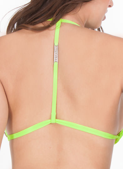 Rhinestone T-Back Bikini Top NEONGREEN