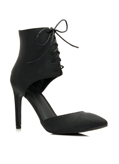 Scale Factor Pointy Corset Heels BLACK