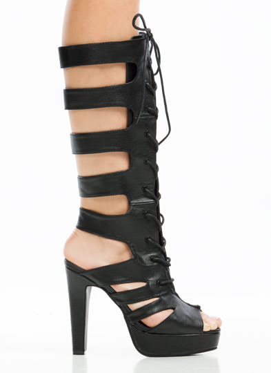 Rung Me Up Strappy Gladiator Heels BLACK
