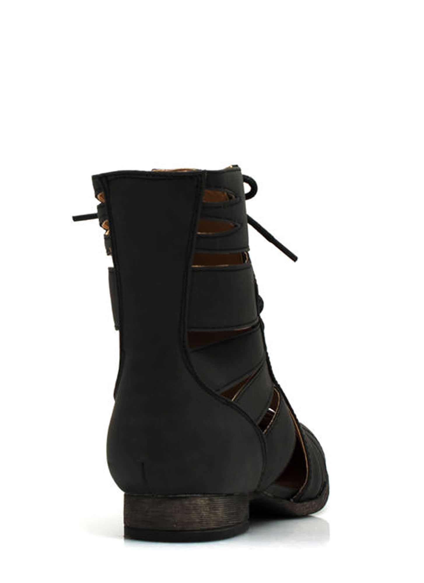 Do Slit Down Lace-Up Cut-Out Boots BLACK