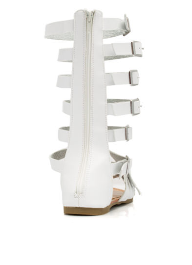 Jewel Of The Arena Gladiator Sandals WHITE