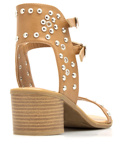 Pack A Punch Strappy Studded Sandals CAMEL