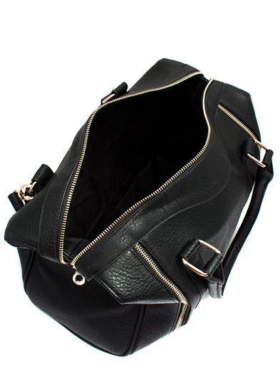 Pebbled Faux Leather Zipper Satchel BLACK