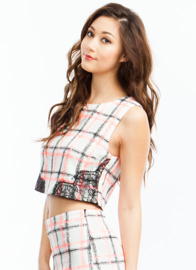 Pretty In Plaid Lace Trim Shell Top CREAM