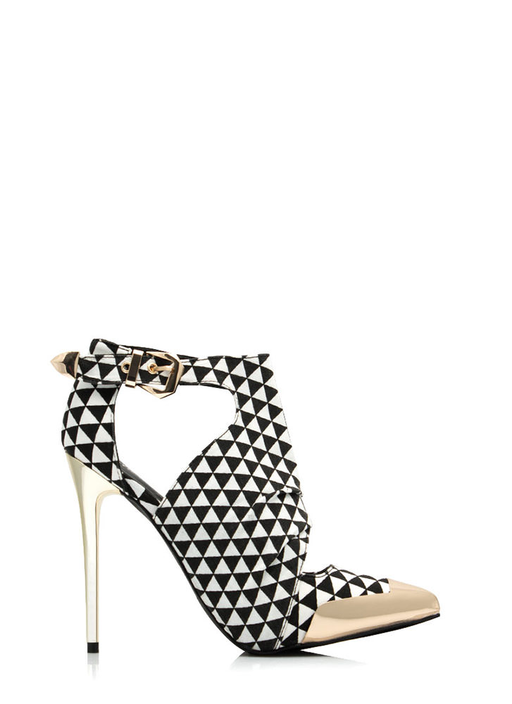 Try Triangles Cut-Out Booties BLACKWHITE