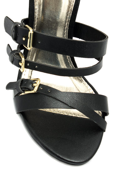 Cuffed Up And Strapped Down Heels BLACK (Final Sale)