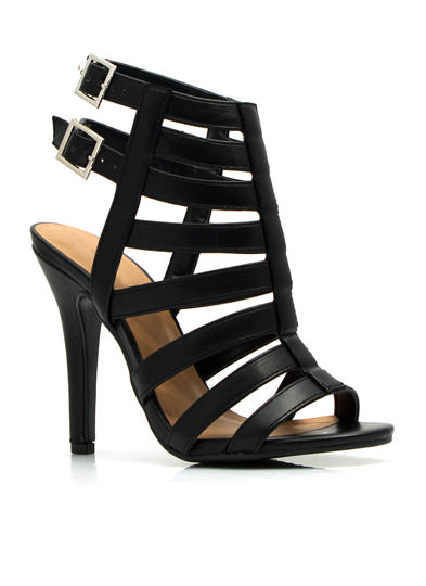 Pace the Cage Strappy Heels BLACK