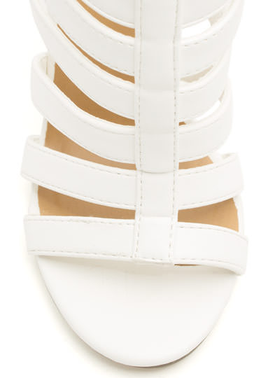 Pace the Cage Strappy Heels WHITE