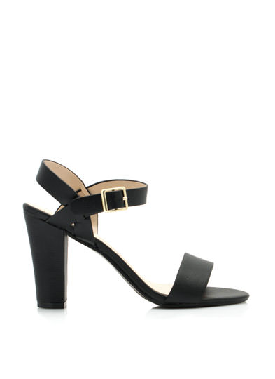 Strappy Single-Sole Chunky Heels BLACK