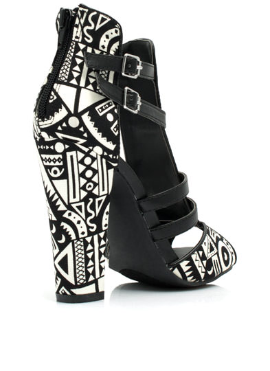 Geometric Tribal Open-Toe Heels BLACK
