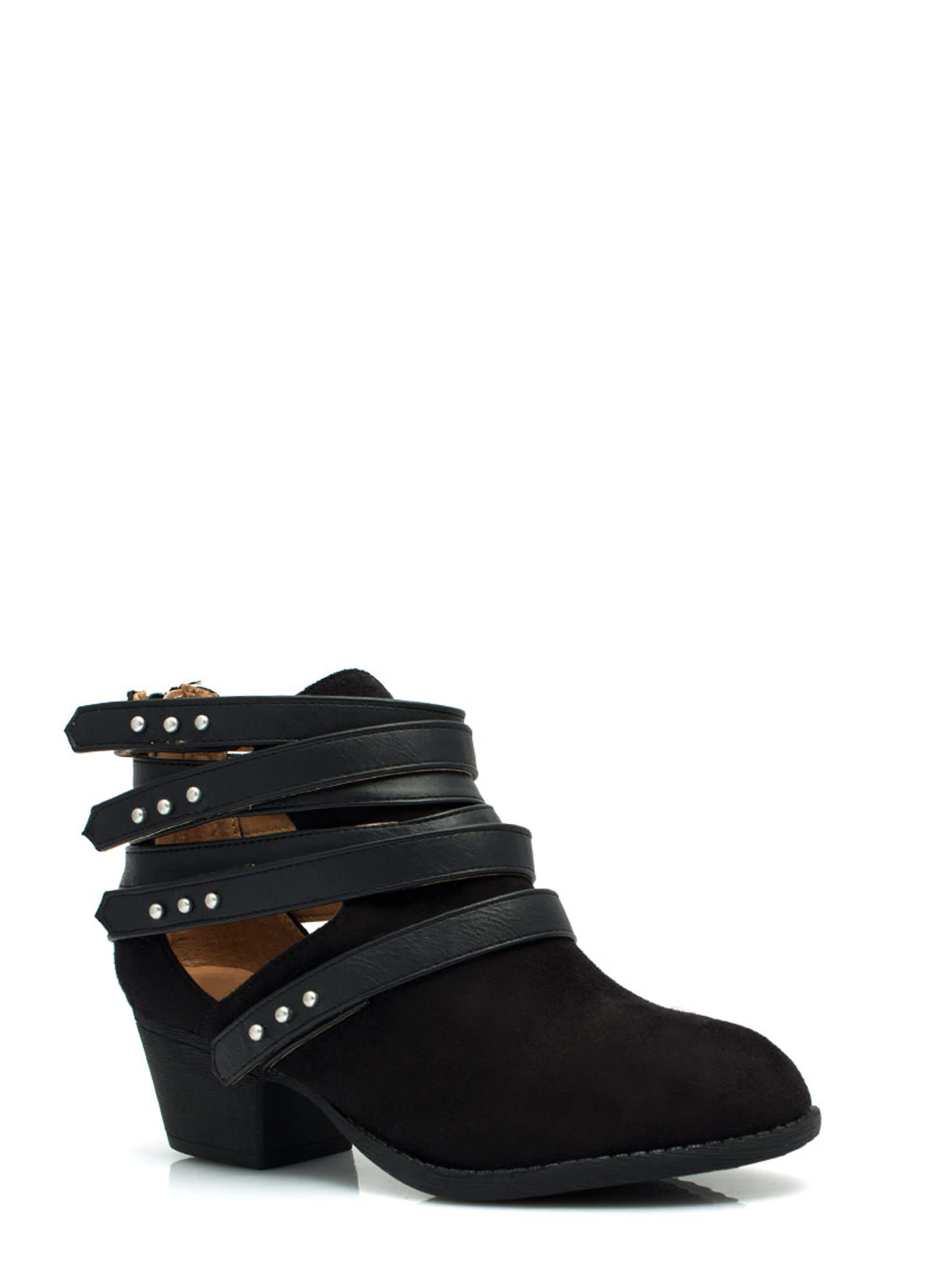 Strap Happy Studded Booties BLACK