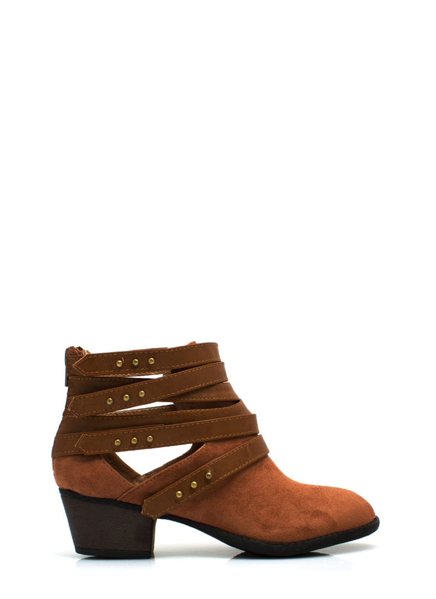 Strap Happy Studded Booties COGNAC