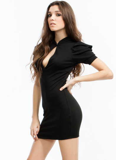 Puffed Up Bodycon Dress BLACK