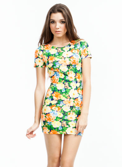Floral Collage Cut-Out Dress YELLOW