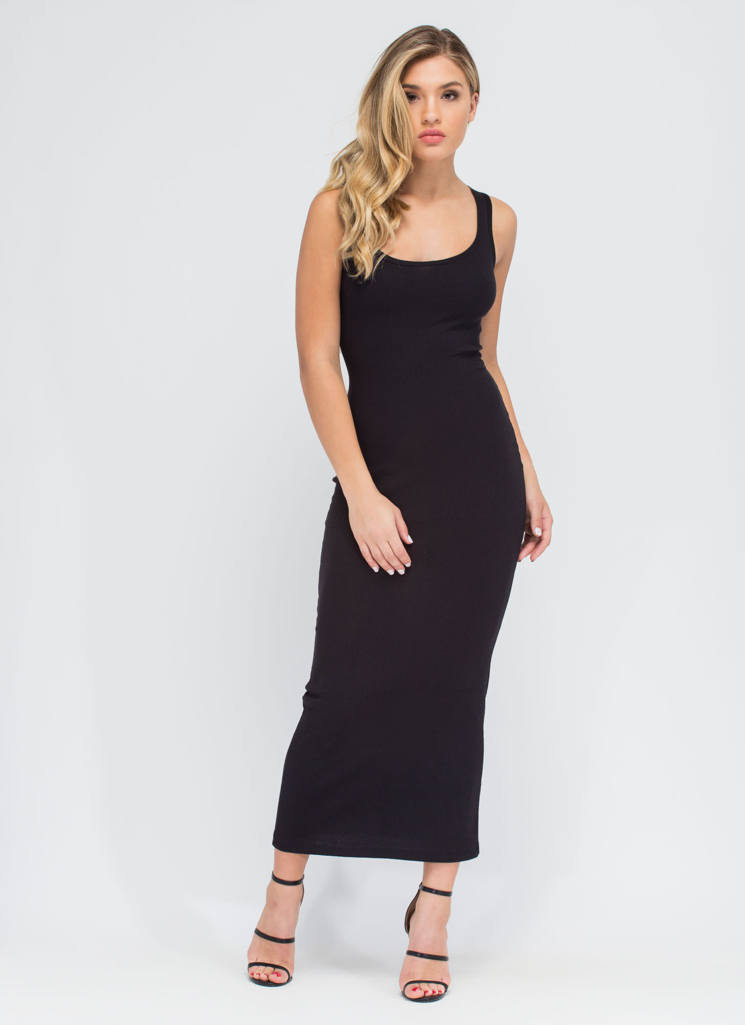 Bring On The Basic Ribbed Maxi Dress BLACK