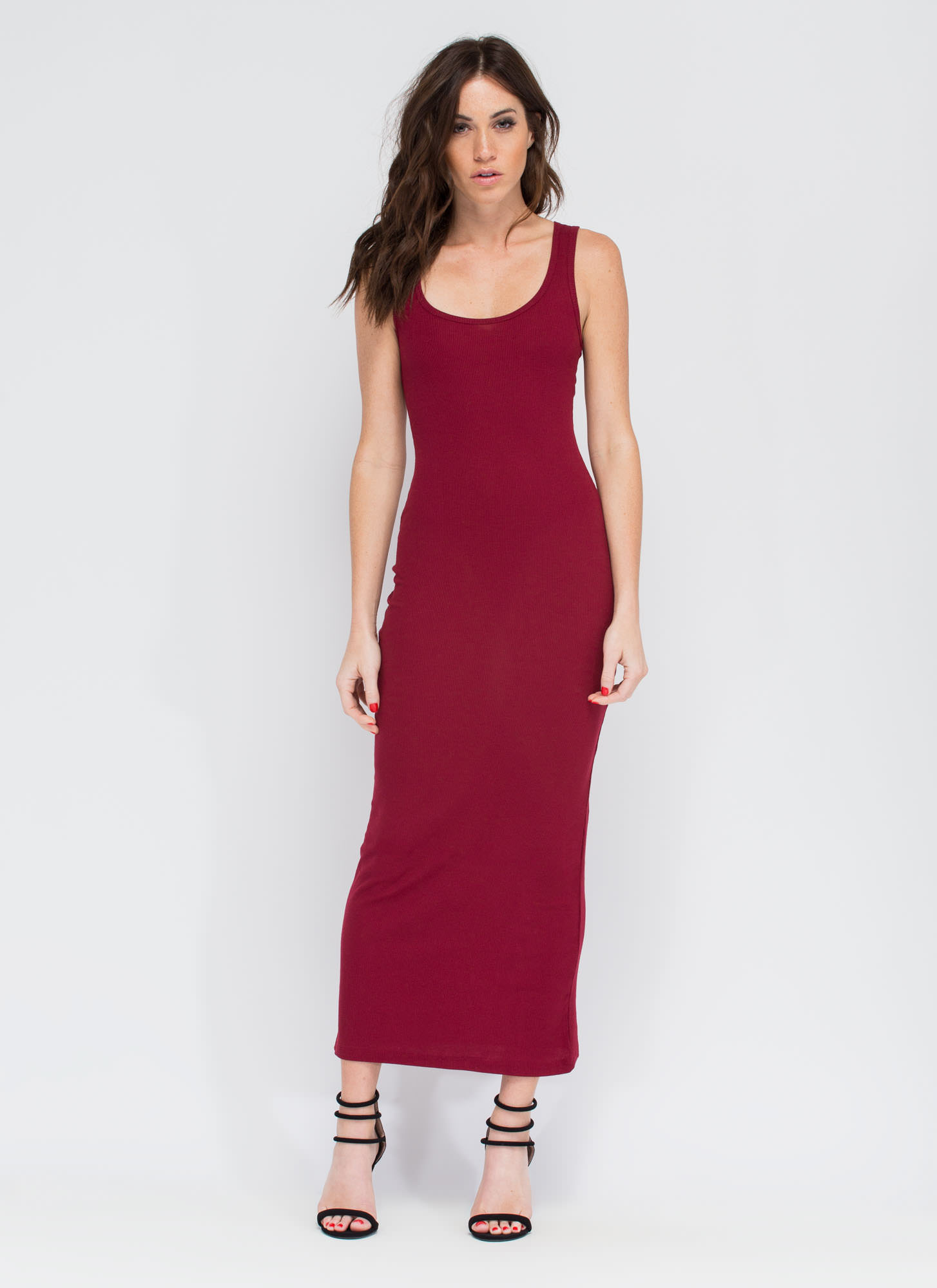 Bring On The Basic Ribbed Maxi Dress BURGUNDY