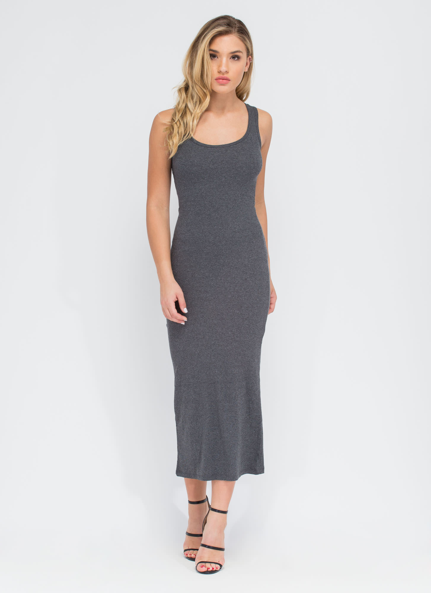 Bring On The Basic Ribbed Maxi Dress CHARCOAL