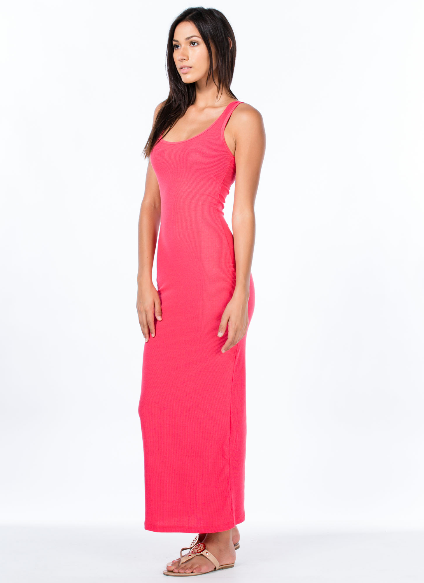 Bring On The Basic Ribbed Maxi Dress CORAL