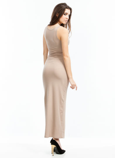 Basic Ribbed Maxi Dress MOCHA