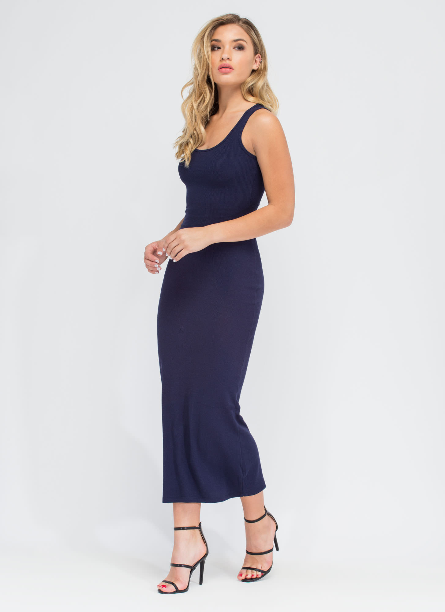 Bring On The Basic Ribbed Maxi Dress NAVY