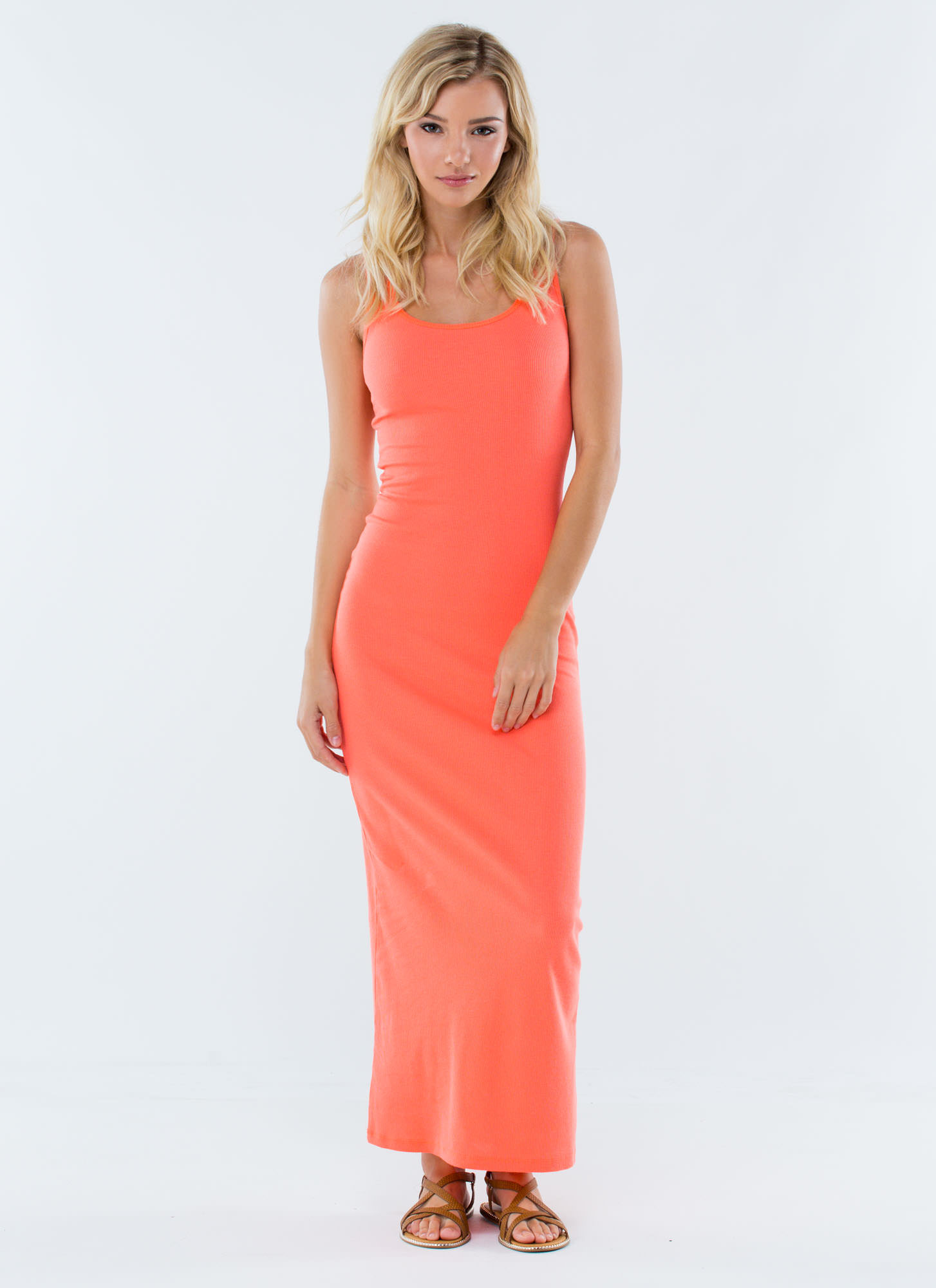 Basic Ribbed Maxi Dress NEONCORAL