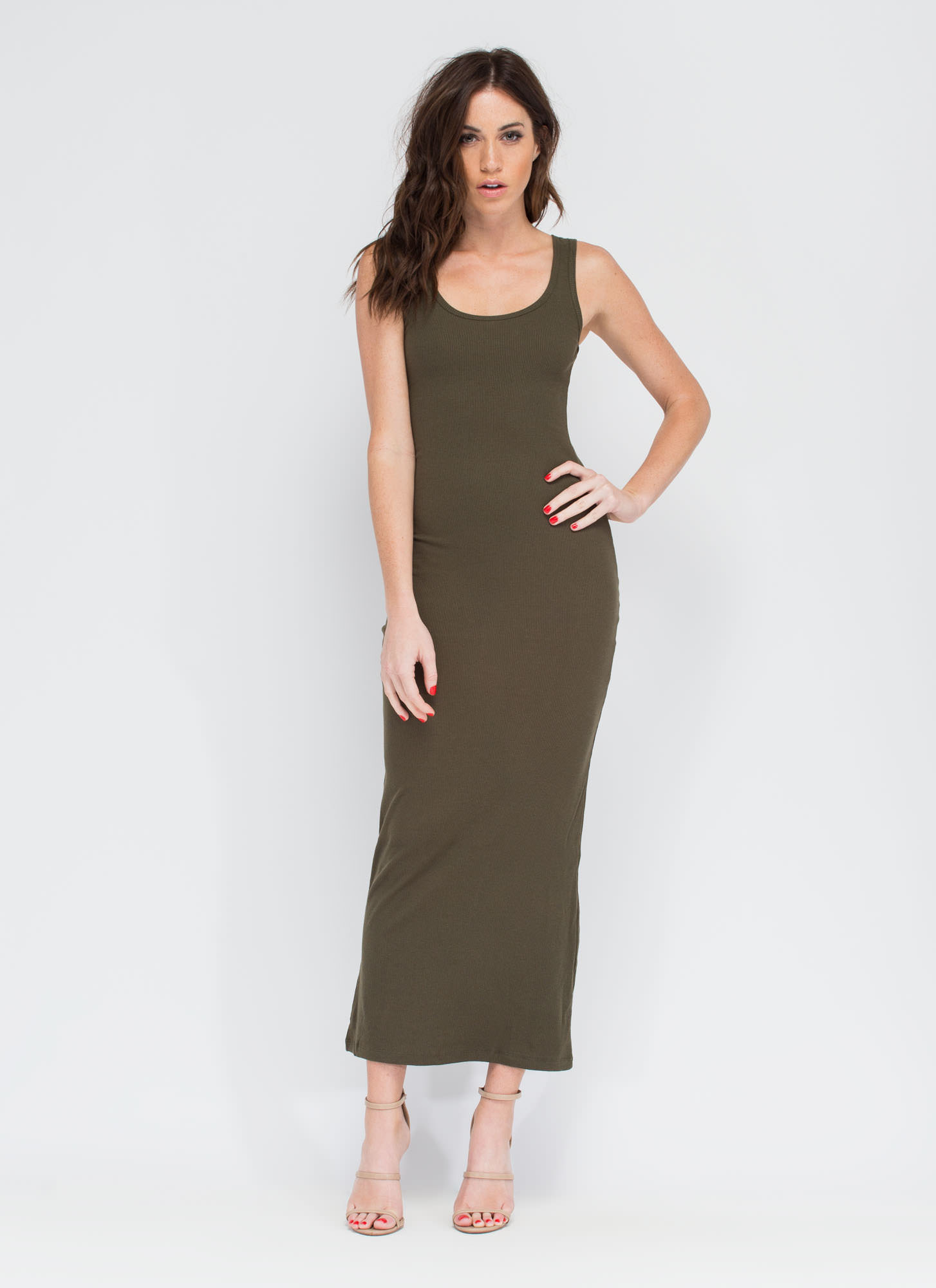 Bring On The Basic Ribbed Maxi Dress OLIVE