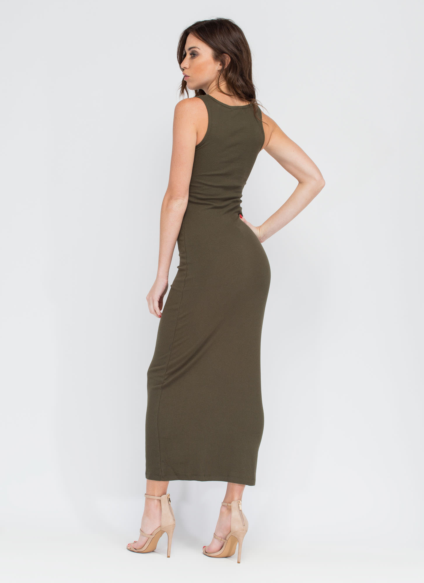 Basic Ribbed Maxi Dress OLIVE