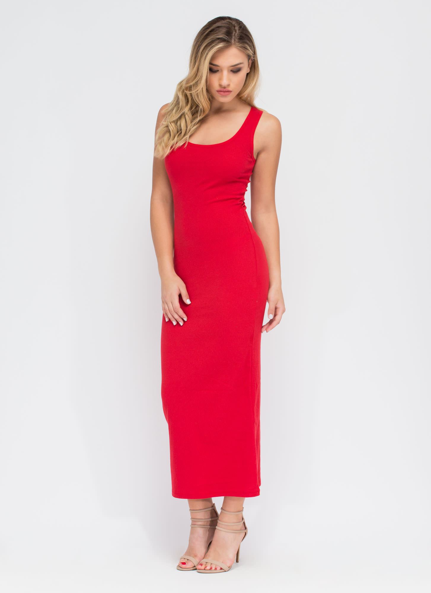 Bring On The Basic Ribbed Maxi Dress RED