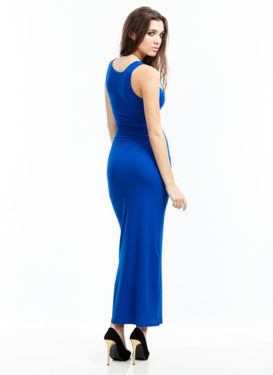 Basic Ribbed Maxi Dress ROYAL