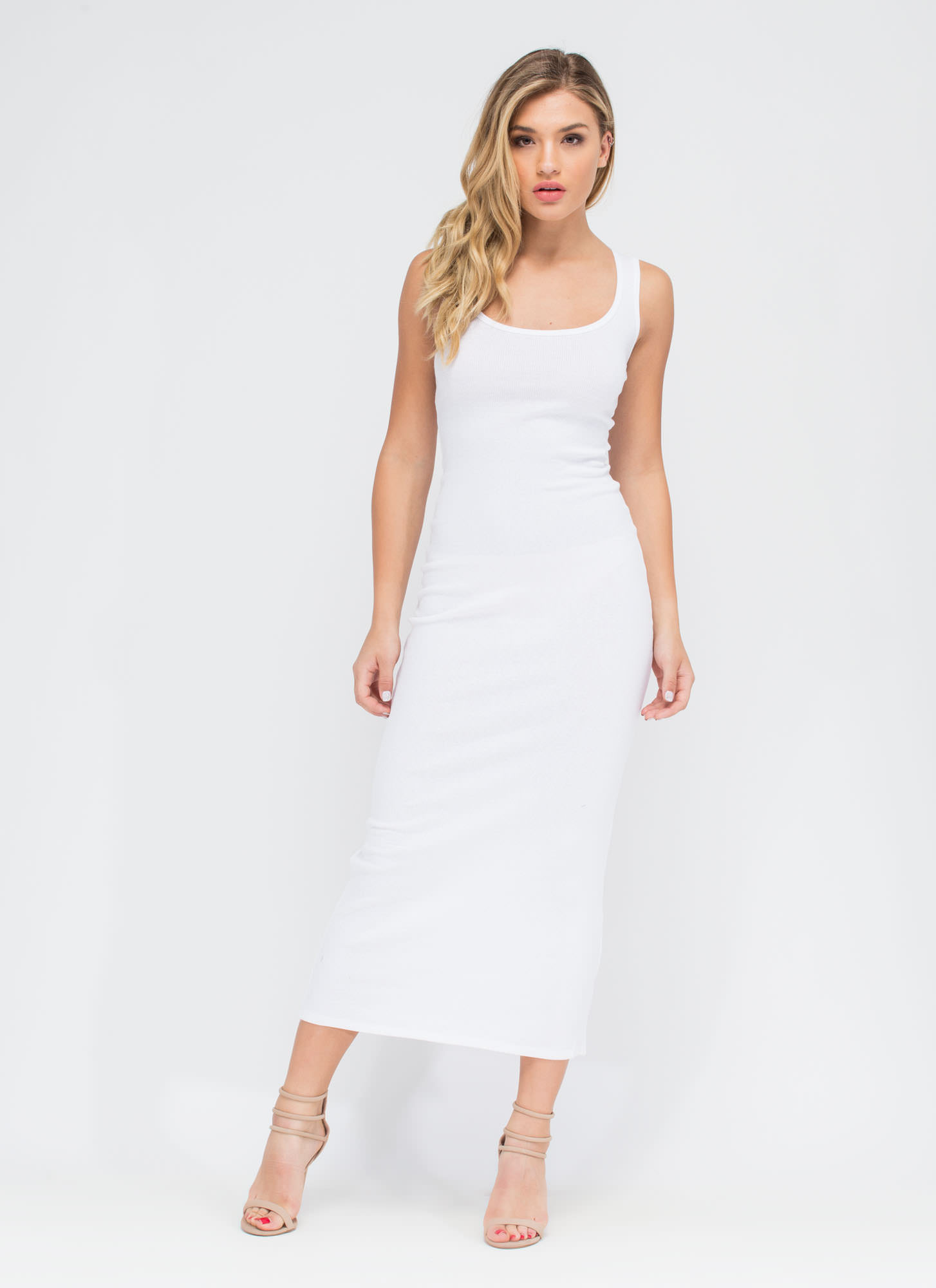 Bring On The Basic Ribbed Maxi Dress WHITE