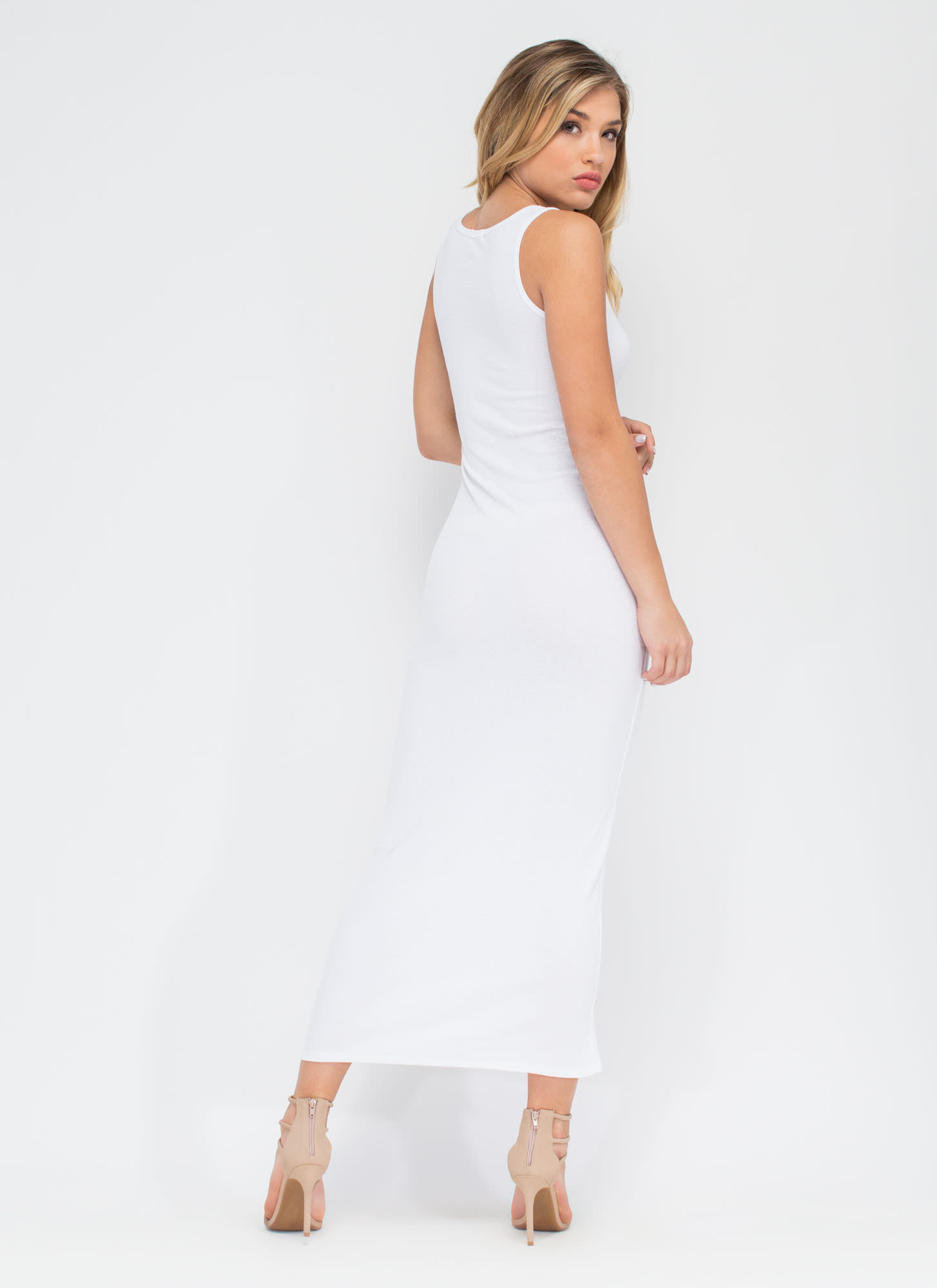 Basic Ribbed Maxi Dress WHITE