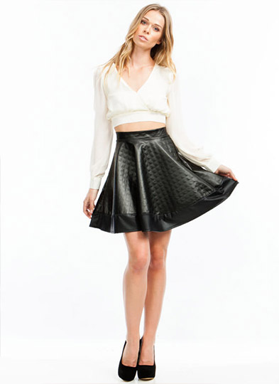 Coco Quilted Skater Skirt BLACK