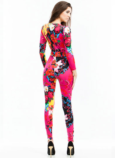 Psychedelic Floral Jumpsuit PINKYELLOW (Final Sale)