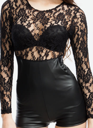 Rock N Sugar Lace Romper  BLACK