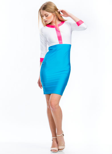 Getting High Shine Colorblock Dress AQUA