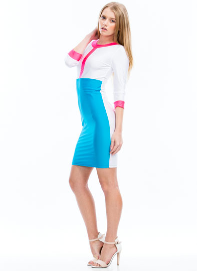 Getting High Shine Colorblock Dress AQUA (Final Sale)