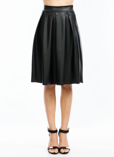 If You Pleats A-Line Midi Skirt BLACK