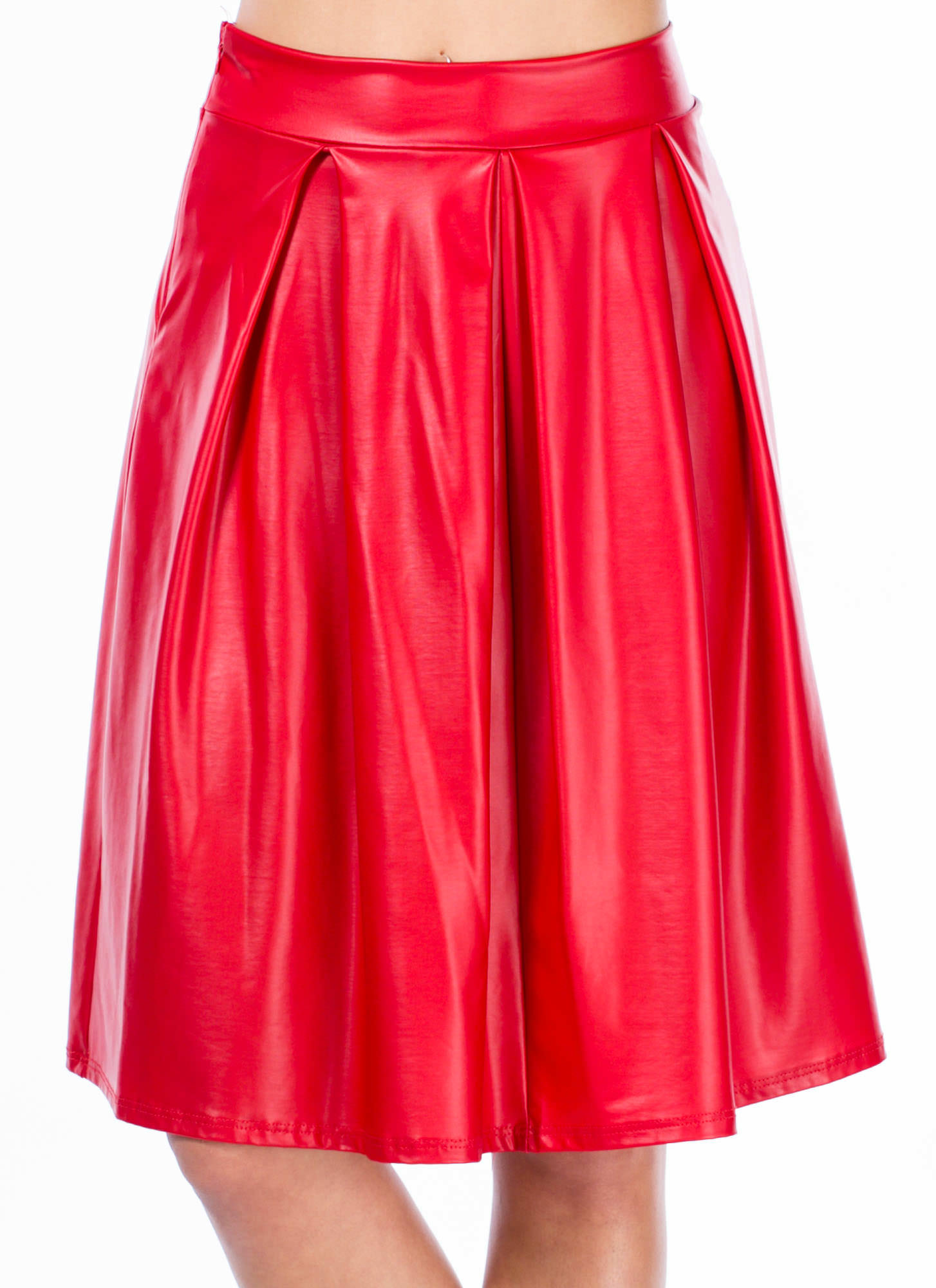 If You Pleats A-Line Midi Skirt RED