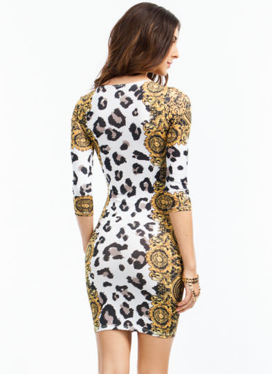 Spot 'N Scroll Leopard Filigree Dress MULTI