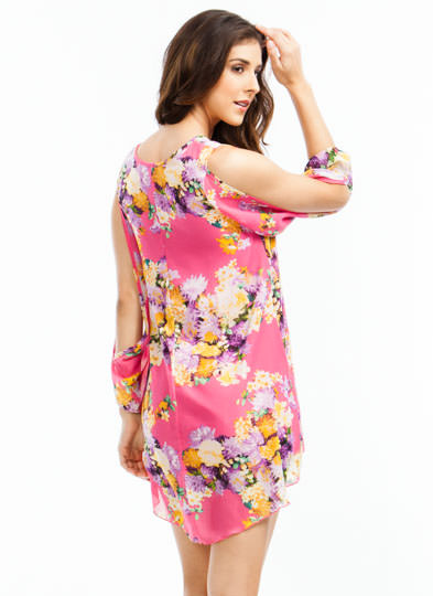 Flower Burst Slit Sleeve Dress PINK